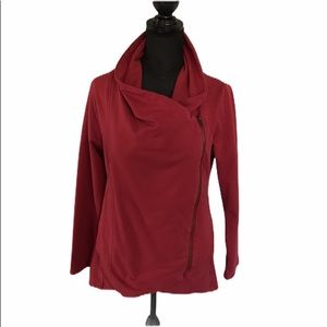 MY BELOVED Red asymmetrical zip Moto sweatshirt